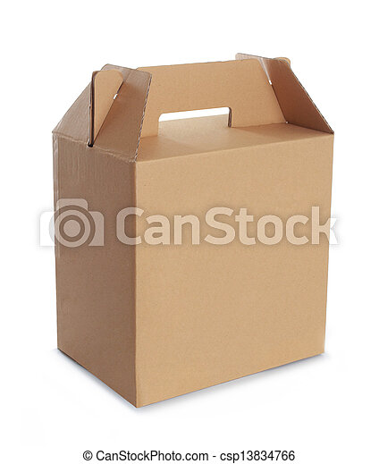 Cardboard box with handle - csp13834766