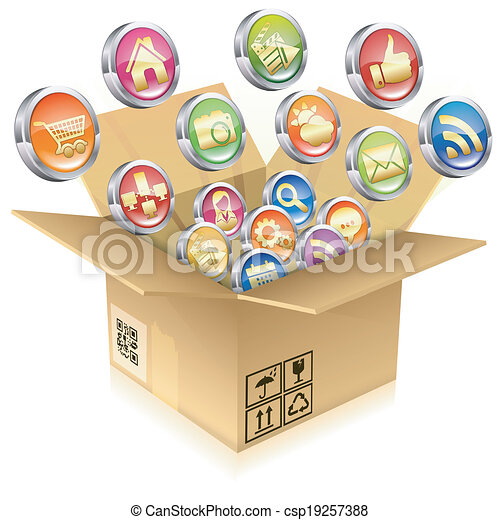 Cardboard Box with Set of Icons - csp19257388