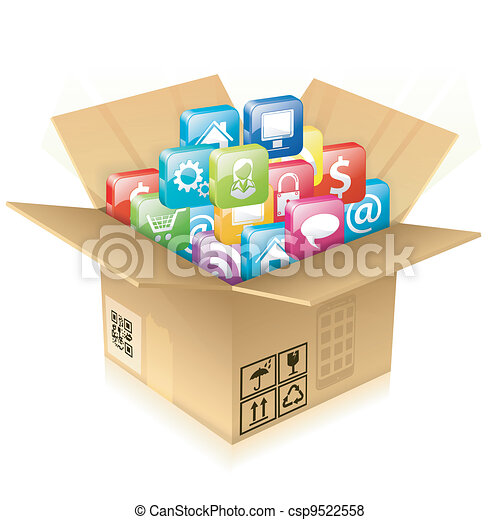Cardboard Box with Set of Icons - csp9522558
