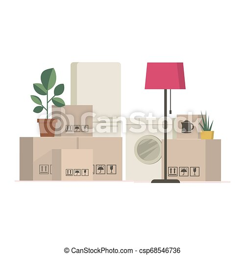 Cardboard boxes and stuff - moving to a new house - csp68546736