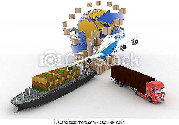 Cardboard boxes, cargo ship, truck  - csp36042034