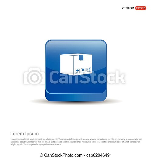 cardboard boxes icon - 3d Blue Button - csp62046491