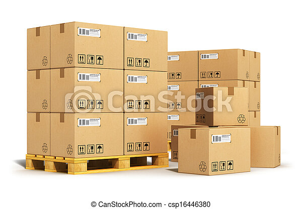 Cardboard boxes on shipping pallets - csp16446380