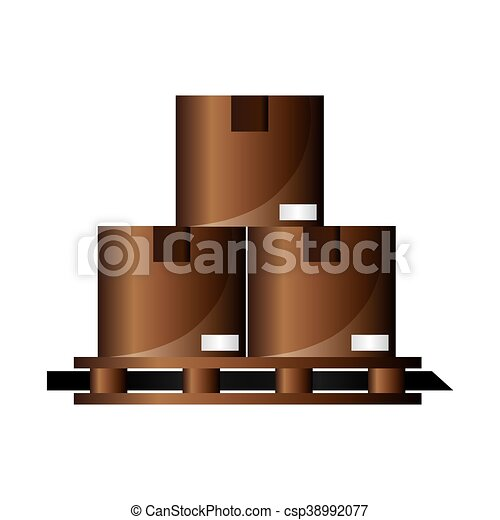 cardboard boxes on wooden pallet icon - csp38992077