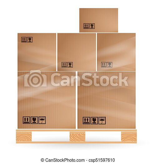 Cardboard Boxes With Cargo Stacked On A Wooden Pallet Euro Pallets Warehouse Goods