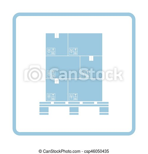 Cardboard package boxes on pallet icon - csp46050435