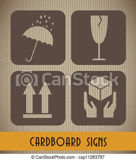 Cardboard Signs Background Vintage Style Vector Illustration