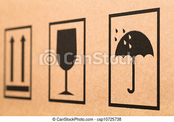 Cardboard Signs Fragility Signs On A Cardboard Box