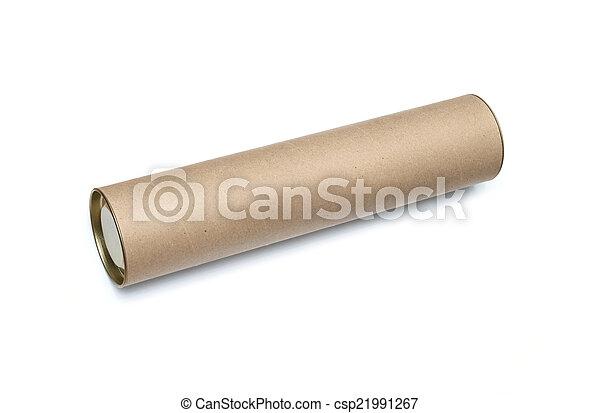 Cardboard tube isolated on white background - csp21991267