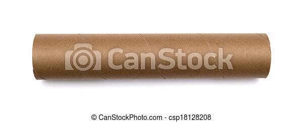 Cardboard tube isolated on white background - csp18128208