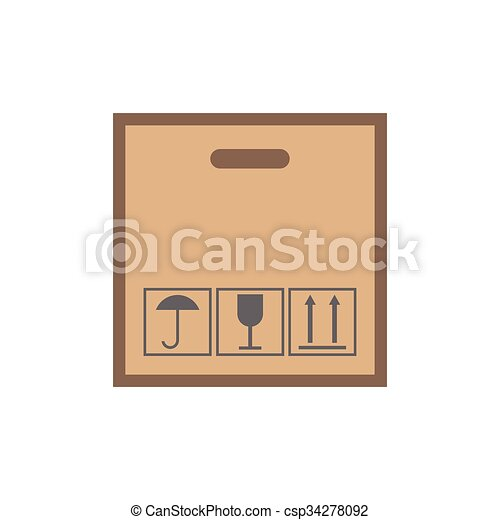 Cardboard with black fragile symbol - csp34278092