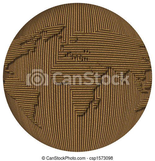 cardboard world globe word globe made of cardboard over white