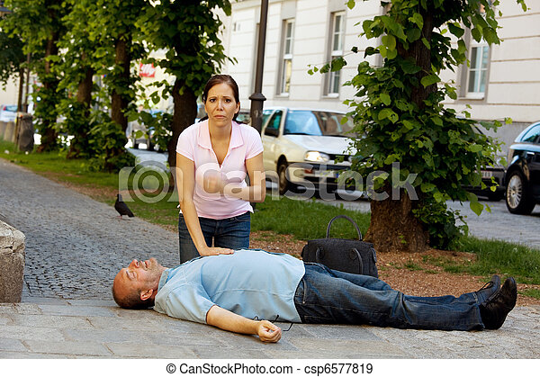 Cardiac massage. First aid for heart attack - csp6577819