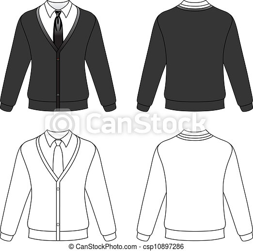 cardigan with necktie template outline illustration of a blank