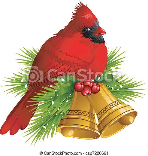Cardinal Bird with Christmas bells - csp7220661