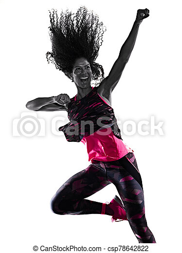 cardio, freigestellt, tänzer, tanzen, hintergrund, fitness, übungen, frau, weißes - csp78642822
