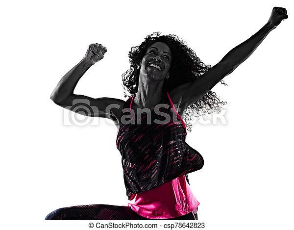 cardio, freigestellt, tänzer, tanzen, hintergrund, fitness, übungen, frau, weißes - csp78642823