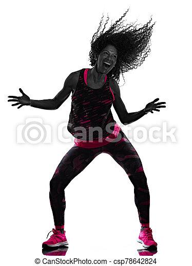 cardio, freigestellt, tänzer, tanzen, hintergrund, fitness, übungen, frau, weißes - csp78642824
