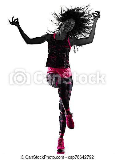 cardio, freigestellt, tänzer, tanzen, hintergrund, fitness, übungen, frau, weißes - csp78642792