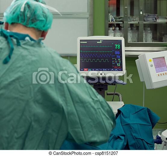 Cardiogram monitor surgery - csp8151207