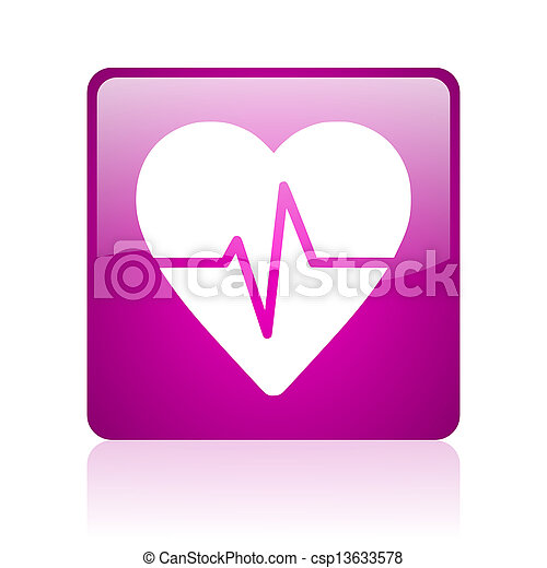 cardiogram violet square web glossy icon - csp13633578