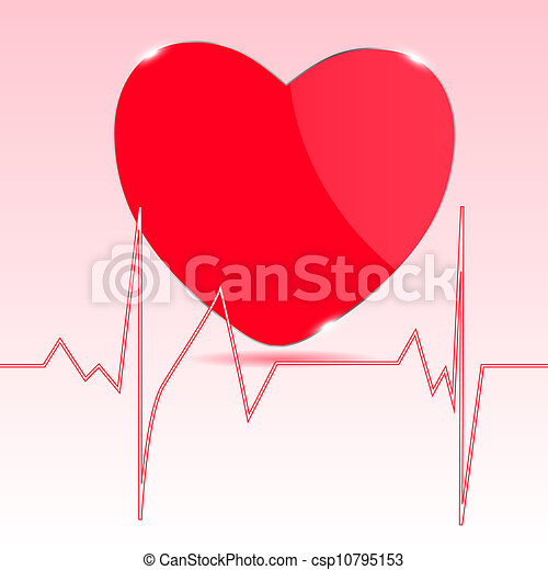 Cardiogram with heart. Vector illustration. - csp10795153