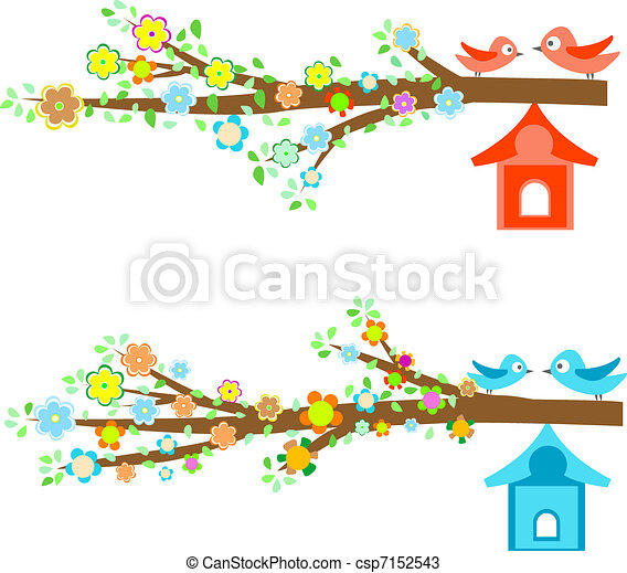 Cards birds sitting on branches and birdhouses - csp7152543