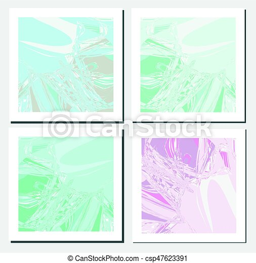 cards design template with abstract marbling effect background