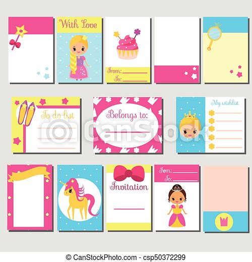 Cards Sticky Notes Stickers Labels Tags With Cute Princess