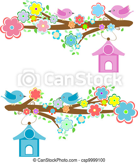 Cards with couples of birds sitting on branches and birdhouses - csp9999100