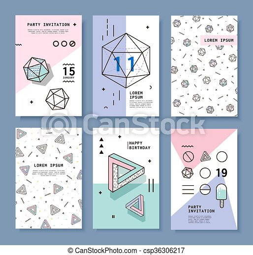 A Set Of Cards With Geometric Elements Memphis Bright Composition