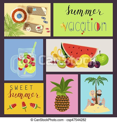 cards with summer elements - csp47544282