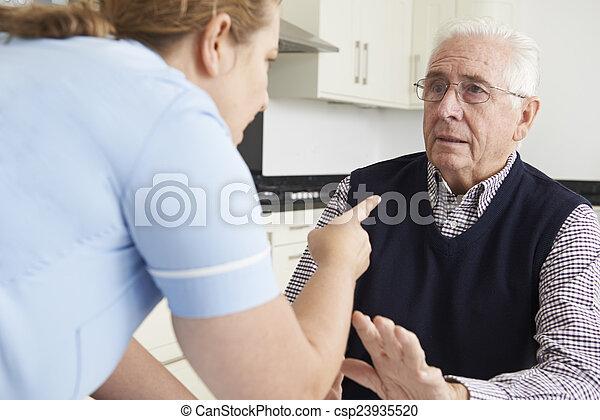 Care Worker Mistreating Elderly Man - csp23935520