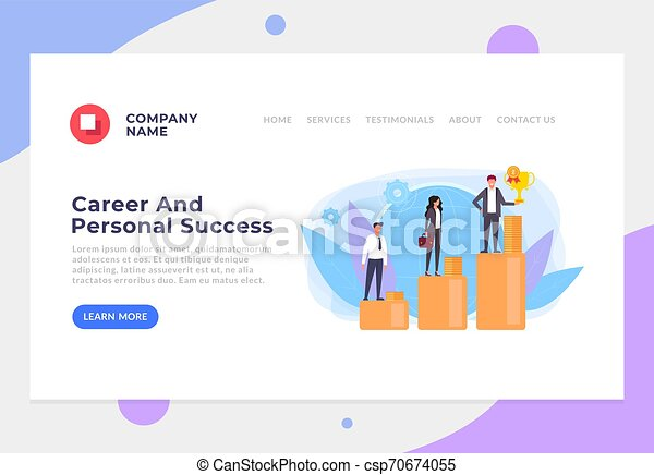 Career And Personal Success Banner Poster Website Page Interface Concept Vector Flat Cartoon Graphic Design Banner Poster