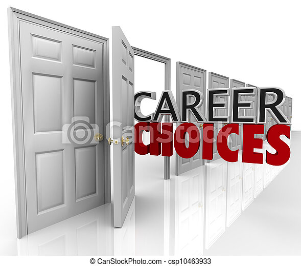 Career Choices Words Many Doors Opportunities Jobs - csp10463933