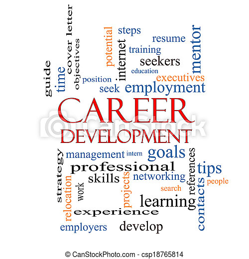 Career development word cloud concept with great terms such stock