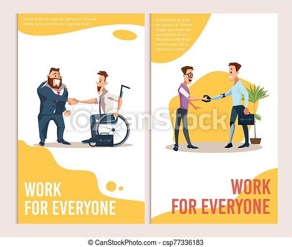 Career Offer For Disabled People Vector Banners Job Offer And Career Opportunity For Disabled People Trendy Flat Vector