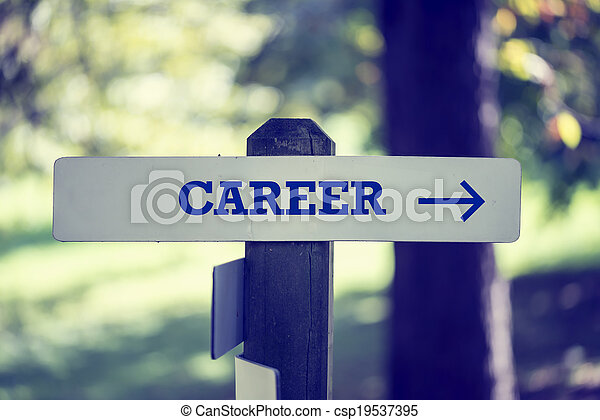 Career signpost with right pointing arrow - csp19537395