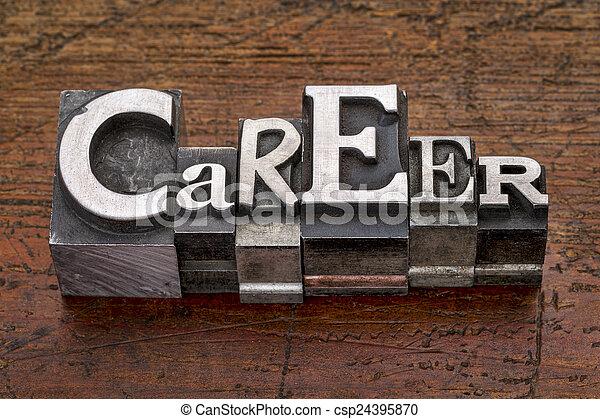 career word in metal type - csp24395870
