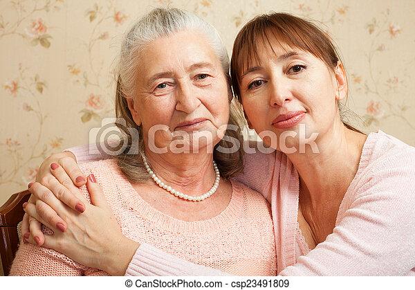 caregiver, -eik, senior woman, home. - csp23491809
