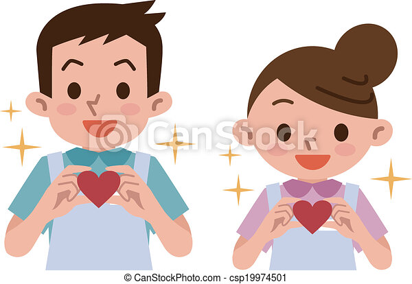 Clip Art Line Of Hearts : Caregivers care with hearts vector illustration clipart