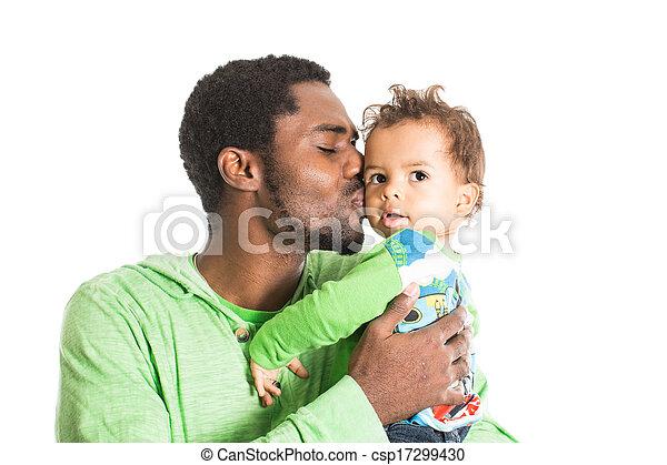 caresser, garçon, usage, concept, amour, père, isolé, il, parenting, noir, bébé, blanc, enfant, ou, heureux - csp17299430