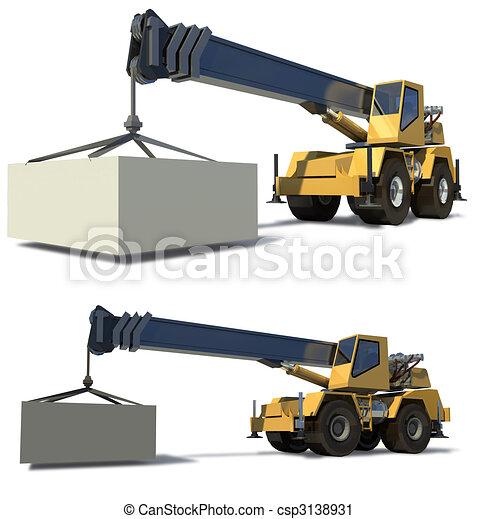 carga, carga, jib, experiência., móvel, drawing., crane., pronto, branca, guindaste - csp3138931