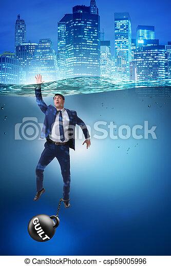Hombre de negocios ahogándose bajo la carga del pecado y la culpa - csp59005996