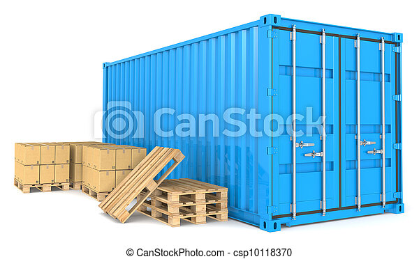 Un contenedor de carga y mercancías. - csp10118370