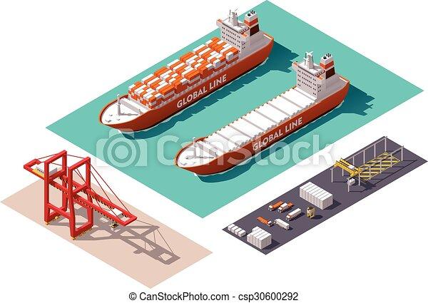 carga, isometric, vetorial, porto, elementos - csp30600292