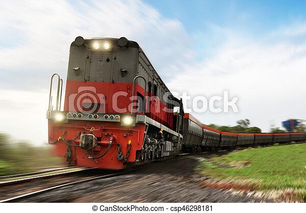 carga, proceso de llevar, tren, locomotora, carga - csp46298181