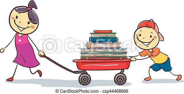 carga, vagão, crianças, livros, puxando, vara - csp44468666