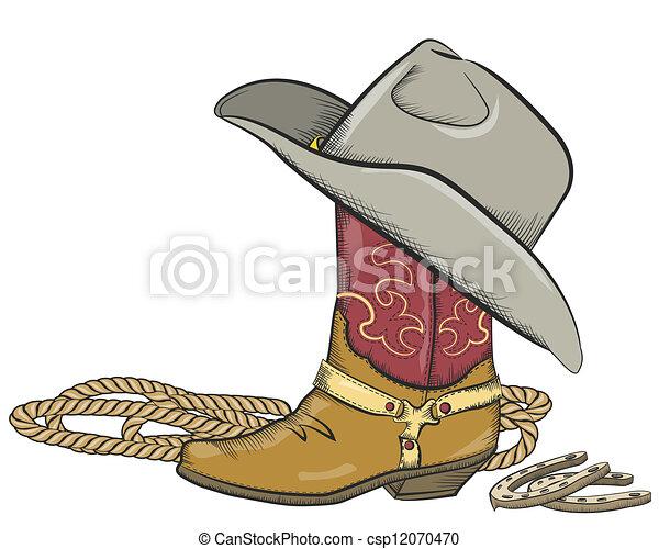 Bota de vaquero con sombrero occidental aislada en blanco - csp12070470
