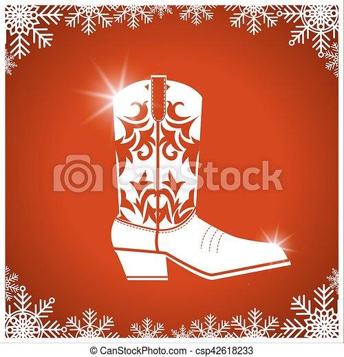 cargador de vaquero, norteamericano, tarjeta, plano de fondo, navidad, rojo - csp42618233